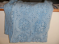 Blue Crocheted Afghan - 0019